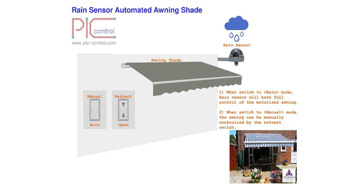 Automated Rain Sensor Awning Shelter.