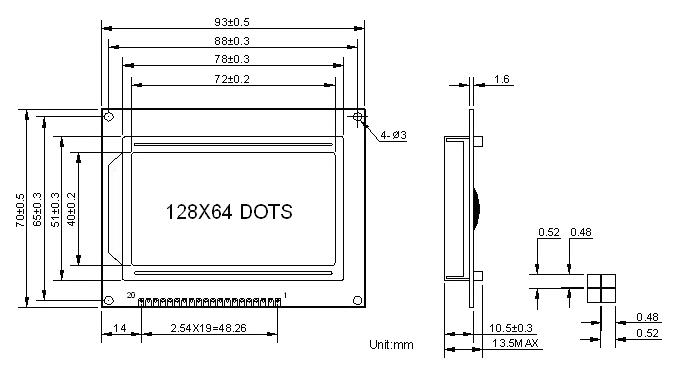 128x64 Dot Matrix LCD Display dimension