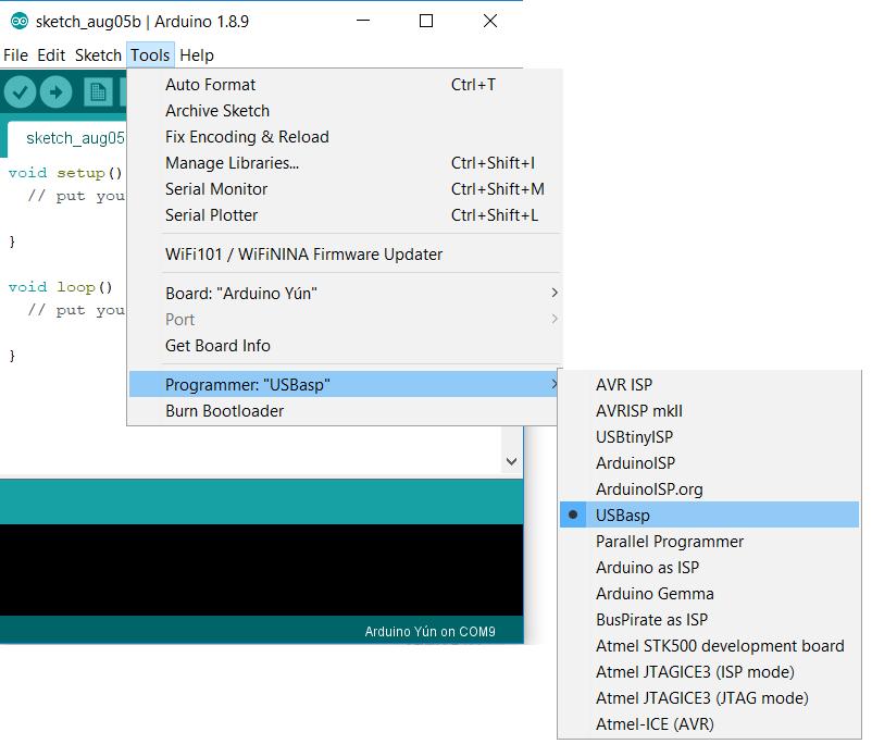 Arduino select programmer USBasp