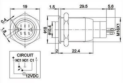 Metallic push switch (dimension size)
